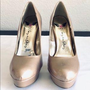 Gold Beige Nude High Heel Pump Shoes, Sz. 7